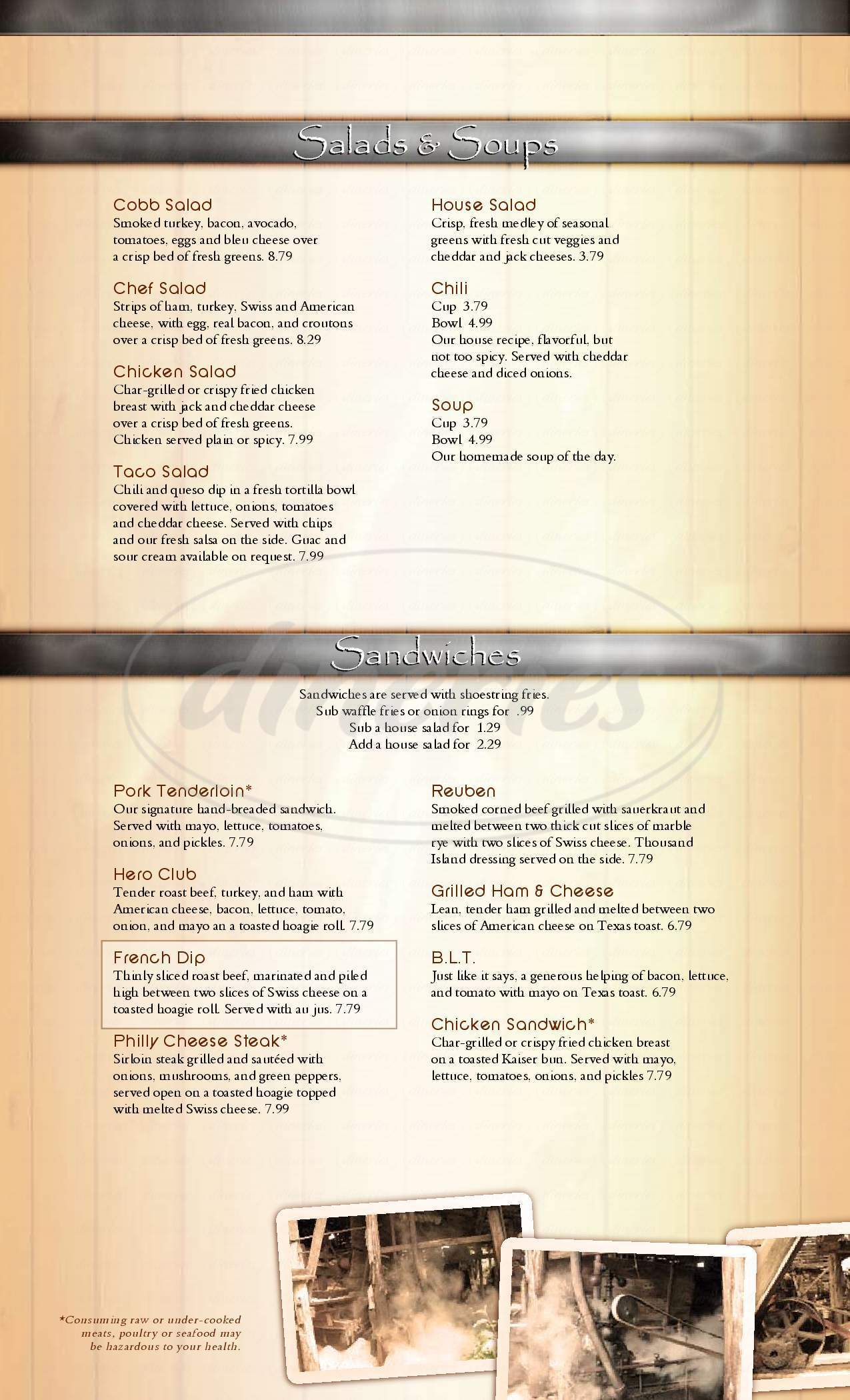 menu for JT's Sports Bar & Grill