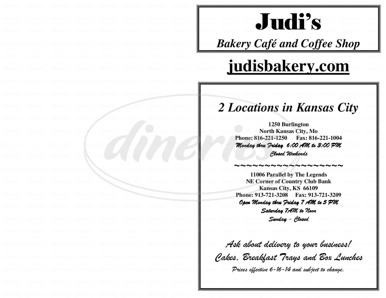 menu for Judi's Bakery Cafe & Coffee Shop
