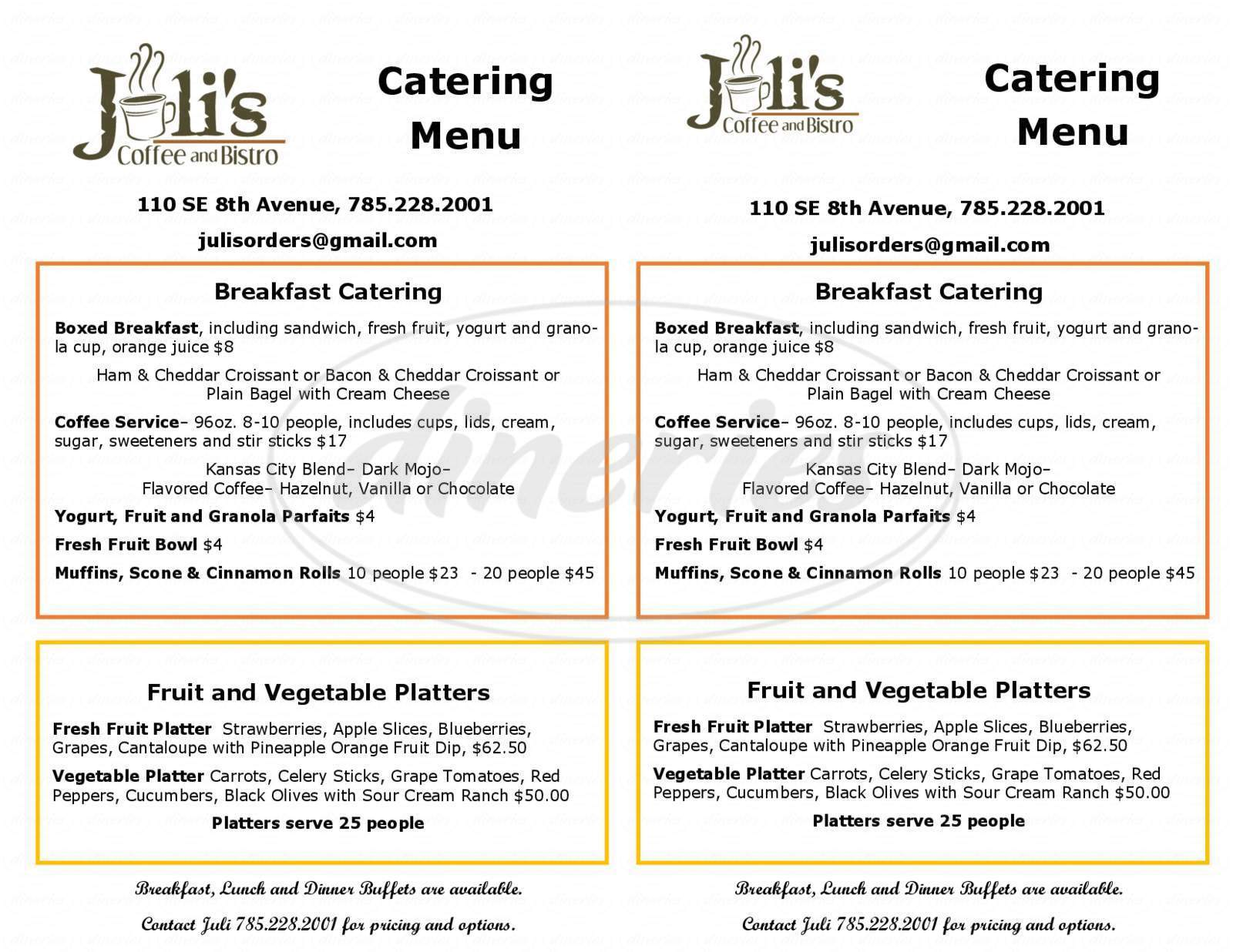 menu for Juli's Coffee and Bistro