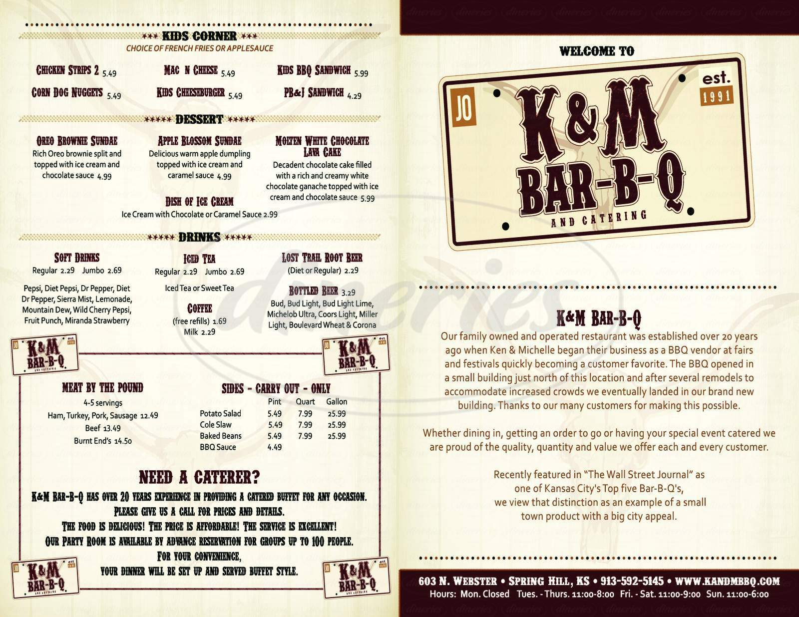 menu for K & M Bar-B-Q