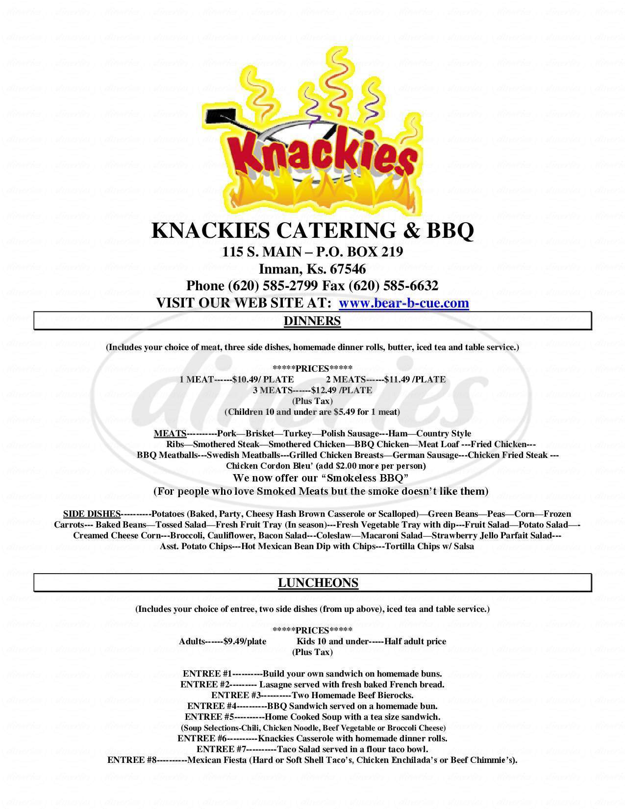 menu for Knackies Meats and Sweets
