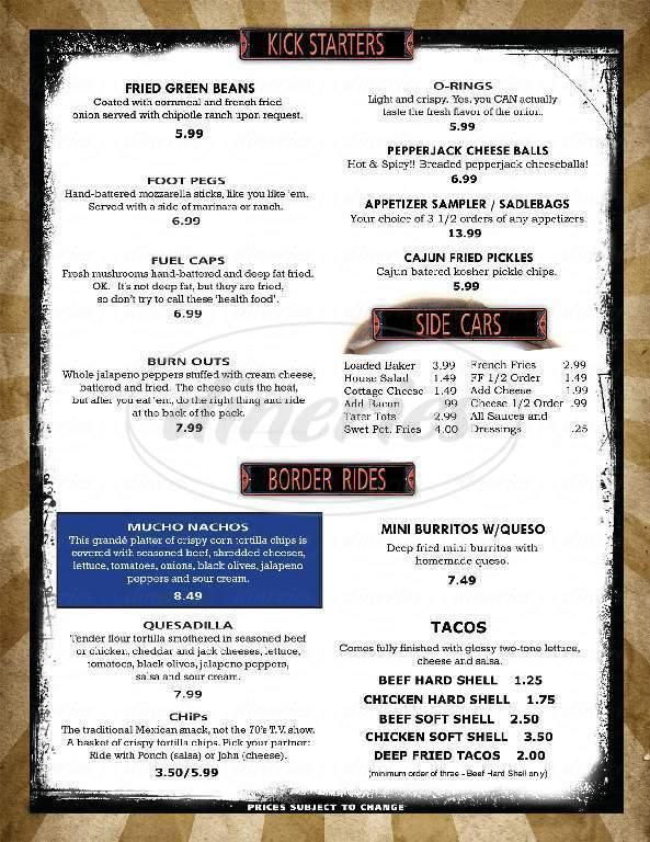 menu for Kobi's Bar & Grill