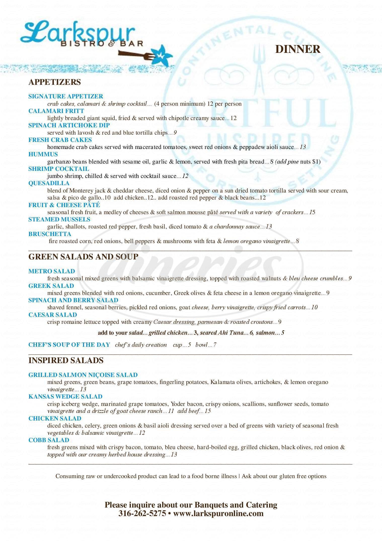 menu for Larkspur Restaurant & Grill