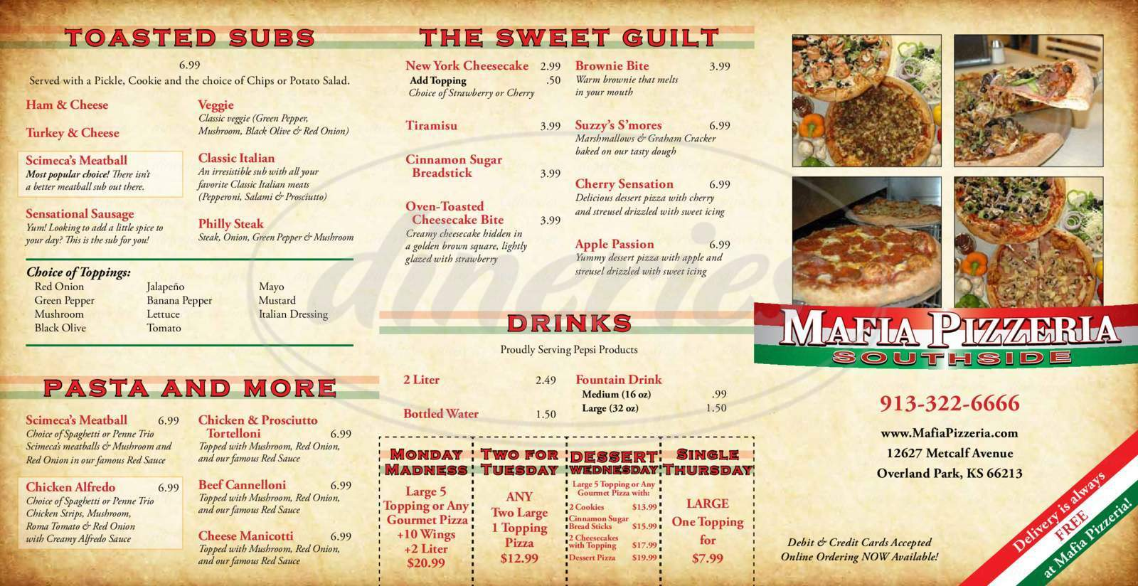 menu for Mafia Mike's Pizza