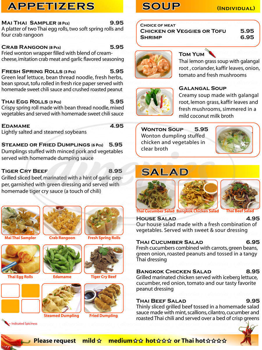 menu for Mai Thai