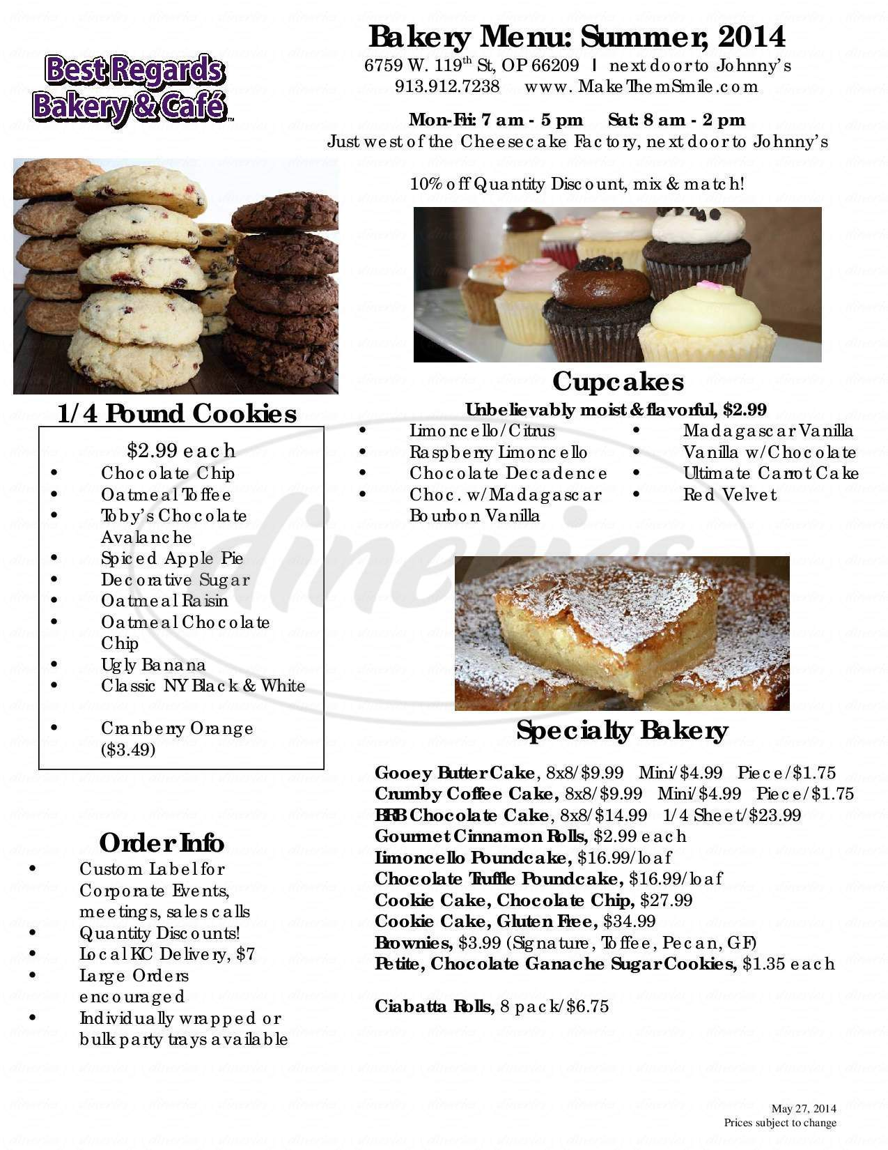 menu for Best Regards Bakery & Cafe
