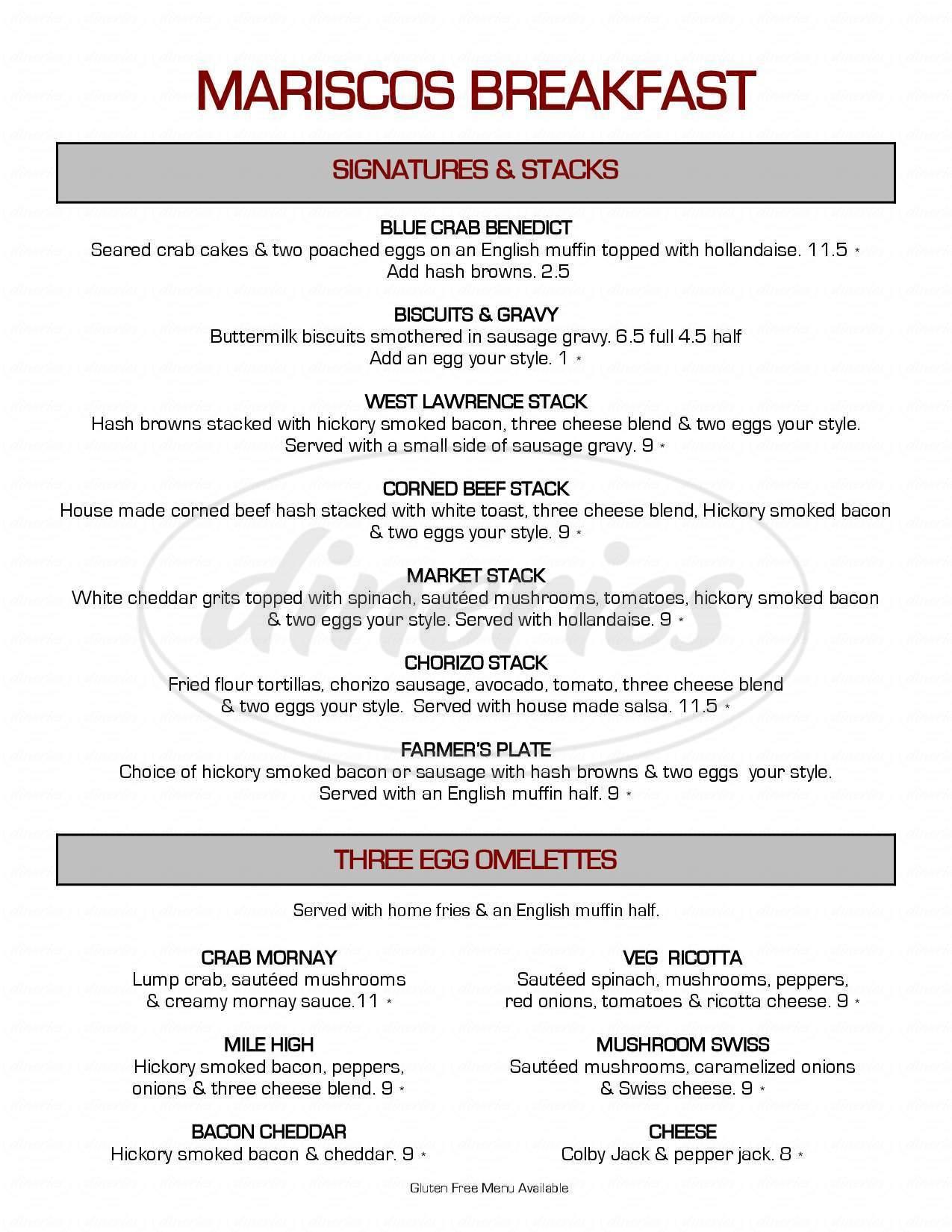 menu for Mariscos Restaurant