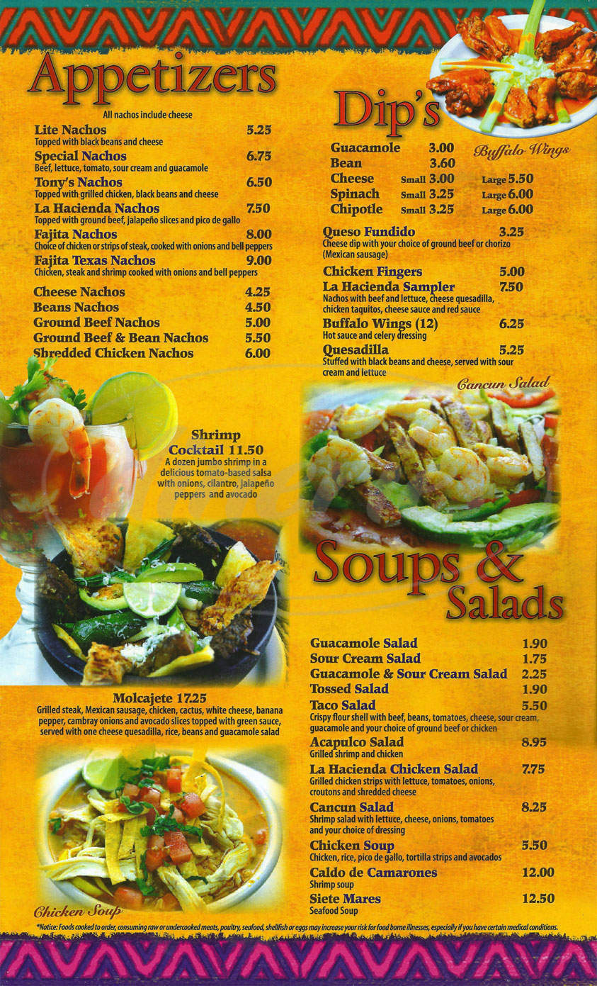 menu for Martin's Mexican Restaurant