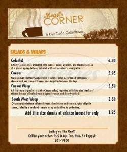 menu for Mead's Corner