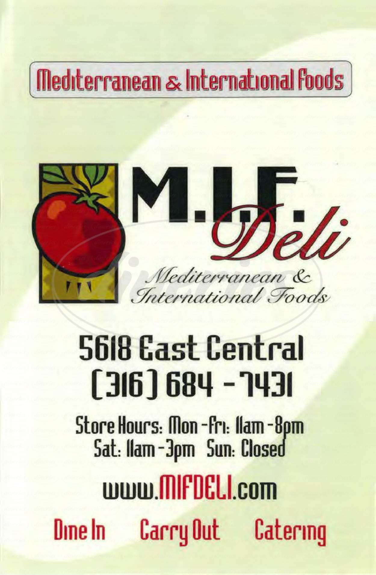 menu for MIF Deli