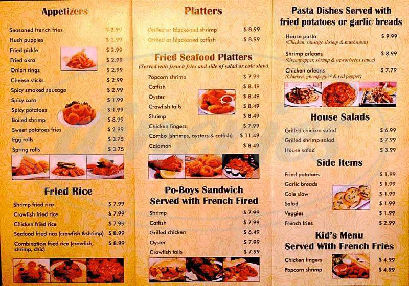 menu for Minh Hoa Restaurant & Cajun Seafood
