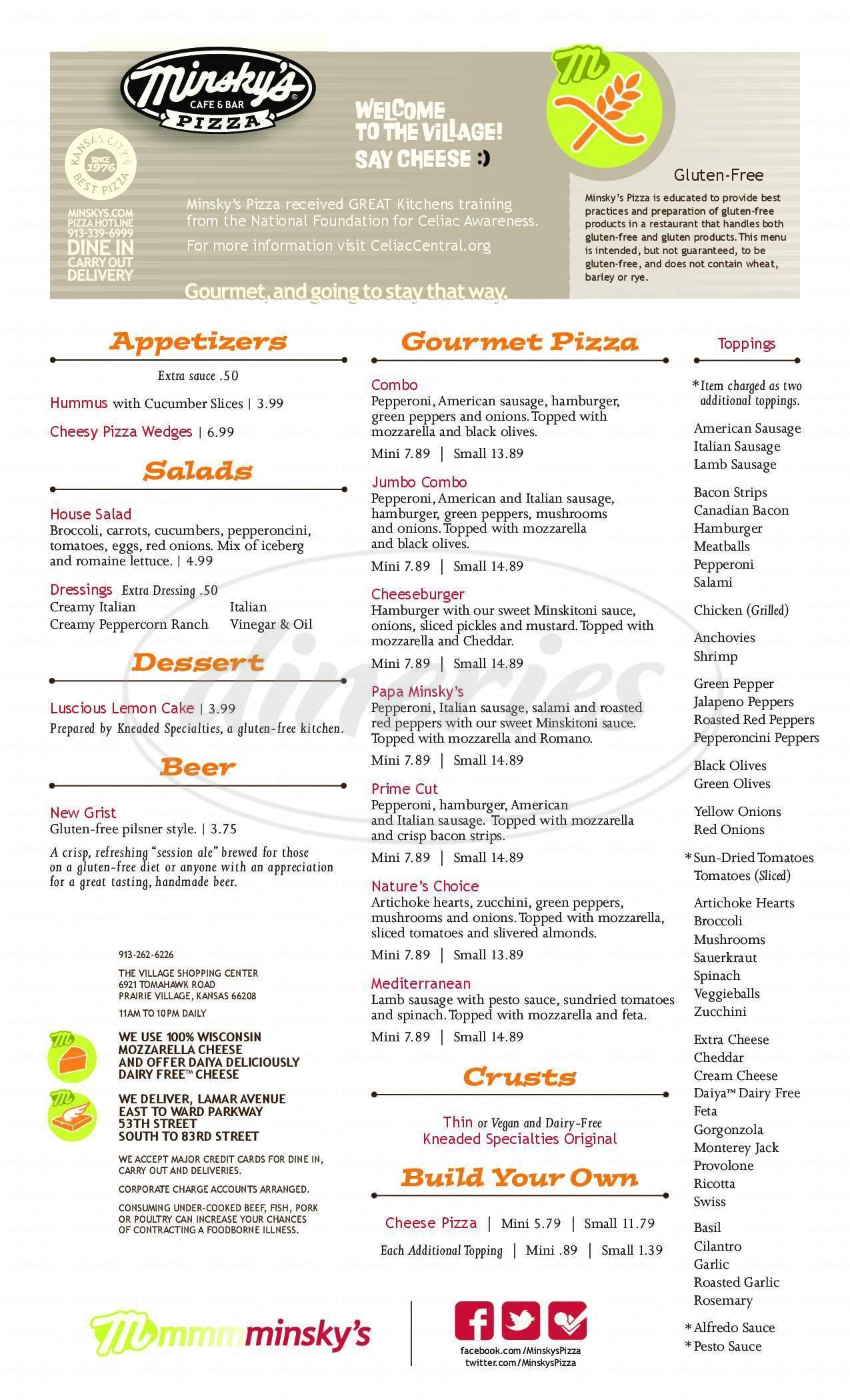 menu for Minskys Pizza