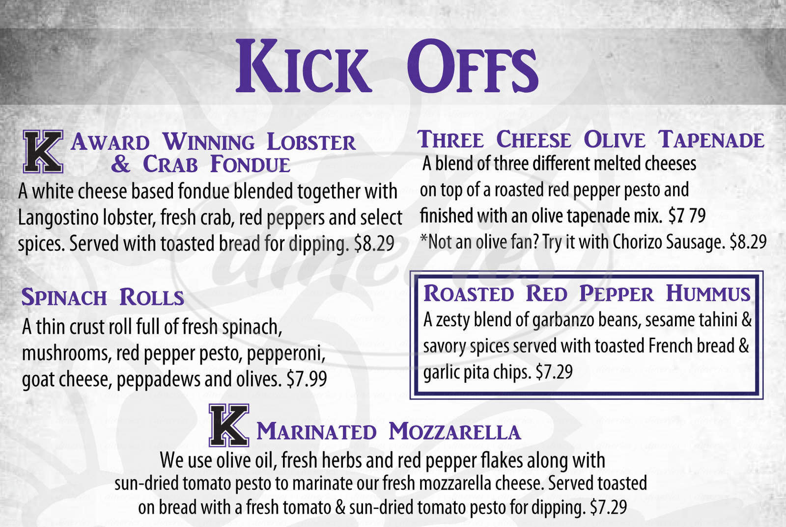 menu for Mr. K's Cafe & Bar