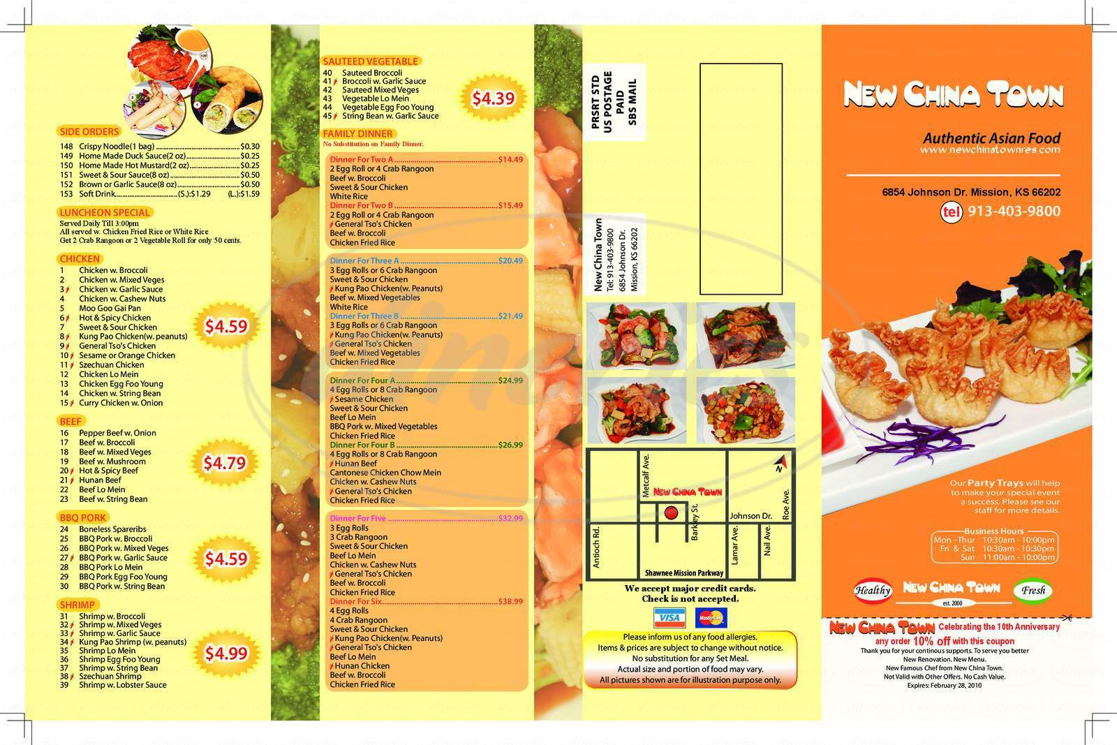 menu for New Chinatown