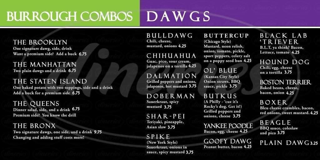 menu for New York Dawg Pound