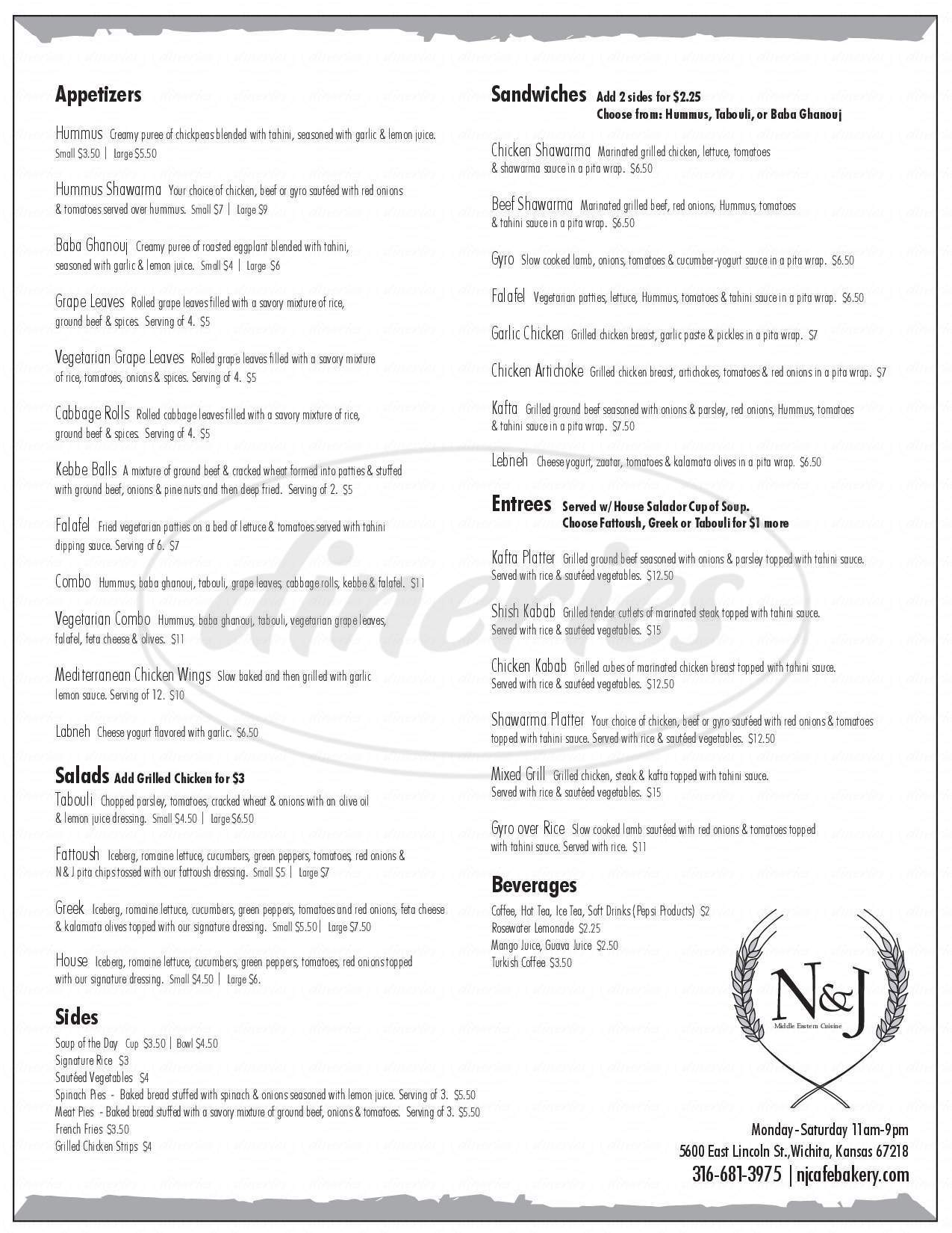 menu for N & J Bakery