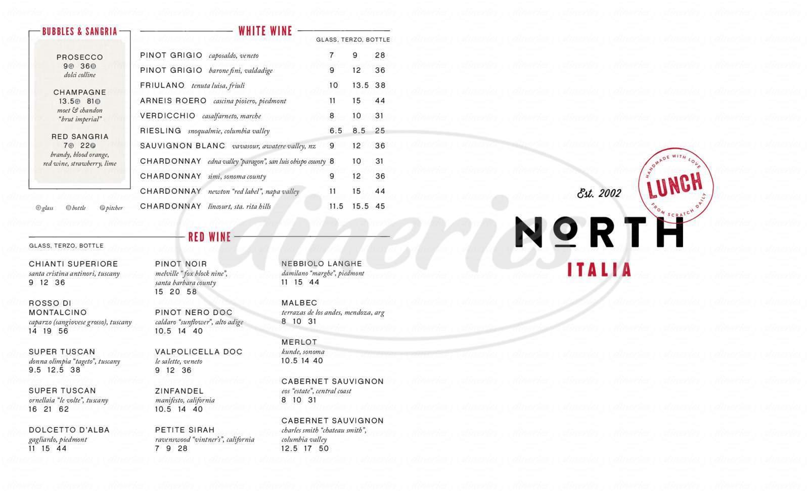 menu for North Italia