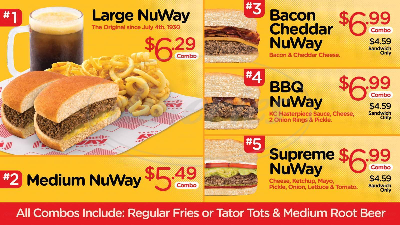 menu for Nuway: Crumbly Burgers