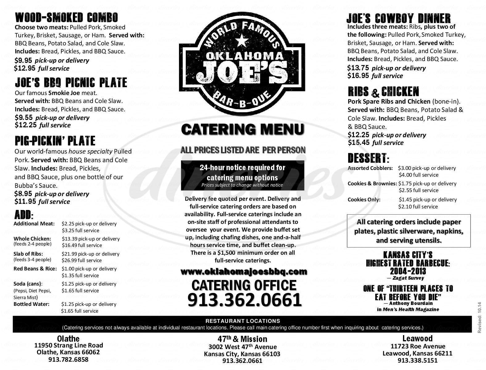 menu for Oklahoma Joe's BBQ