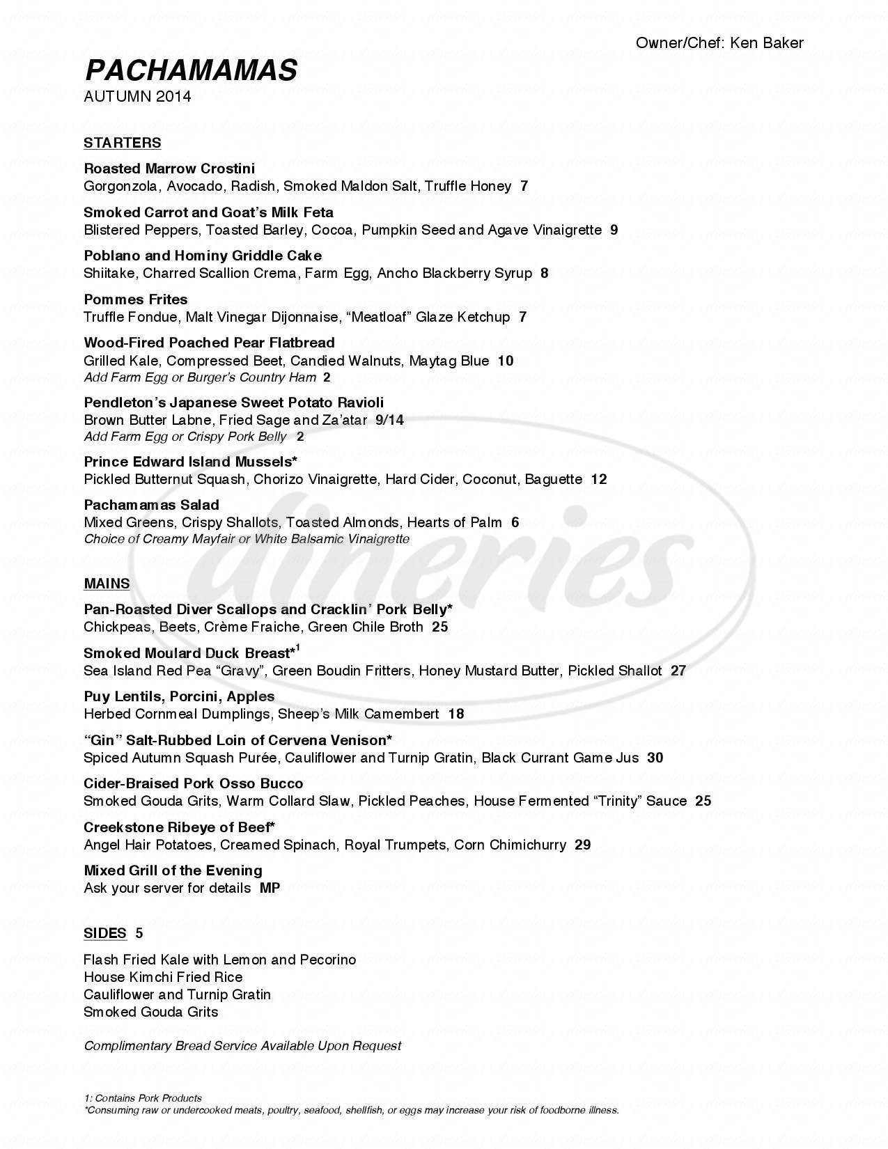 menu for Pachamama's