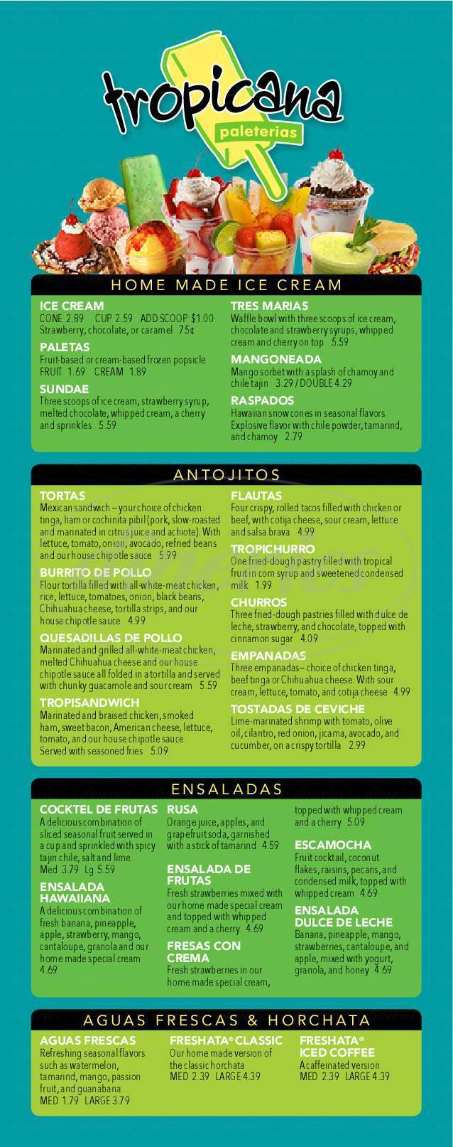 menu for Paleteria Tropicana
