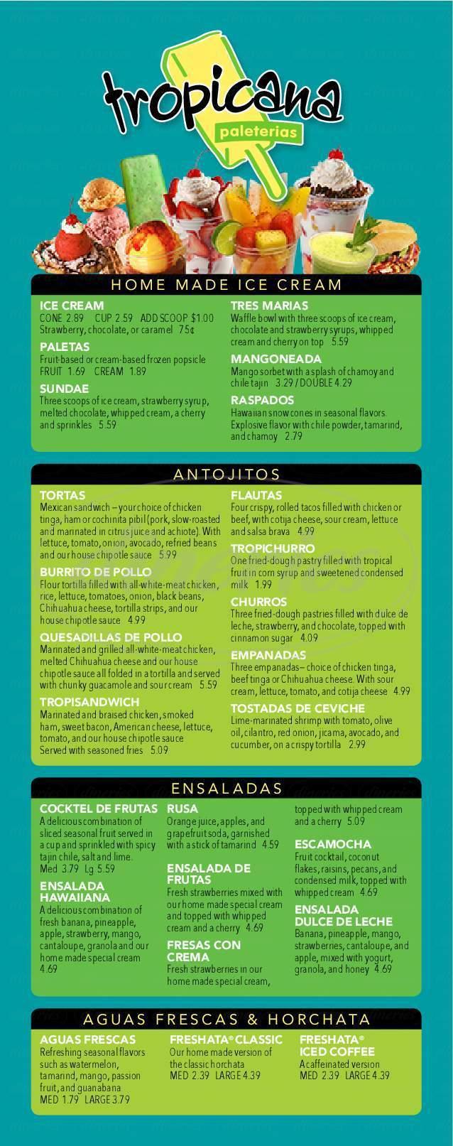 menu for Tropicana estilo michoacan