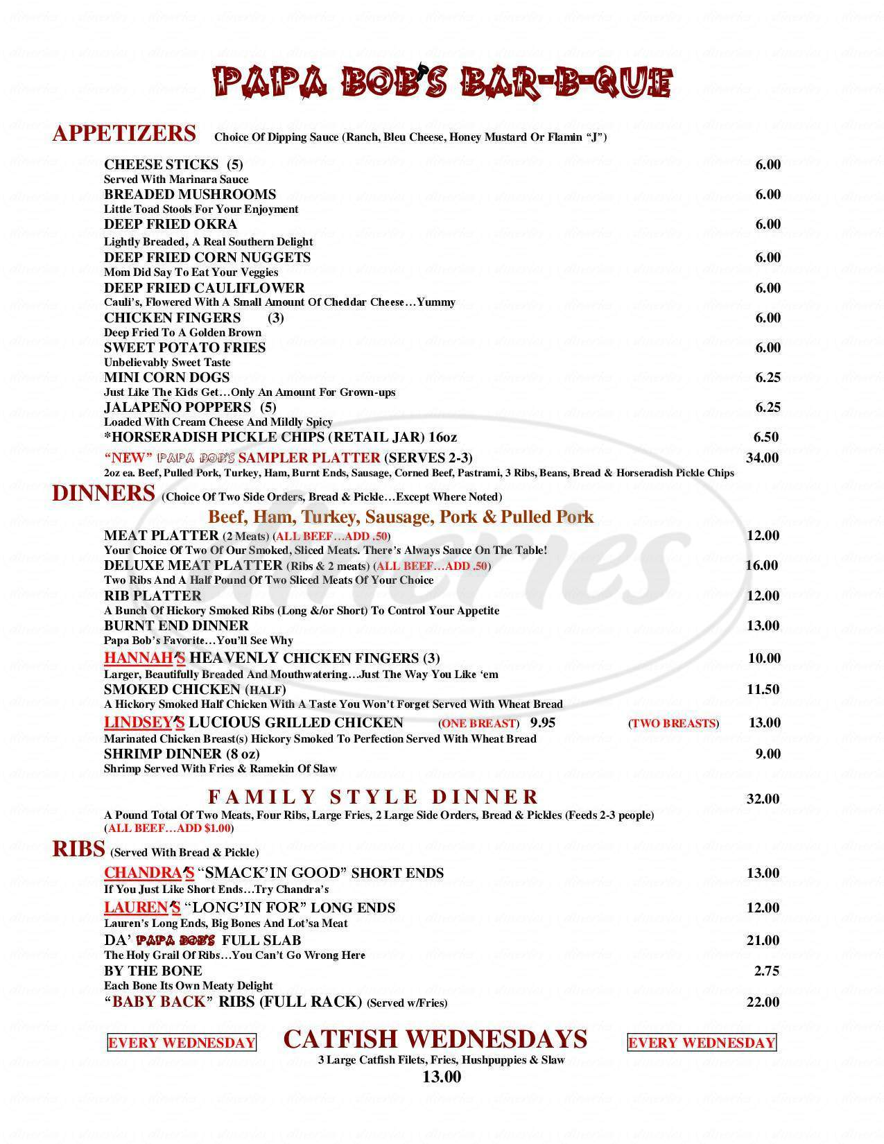 menu for Papa Bob's Bar-B-Que