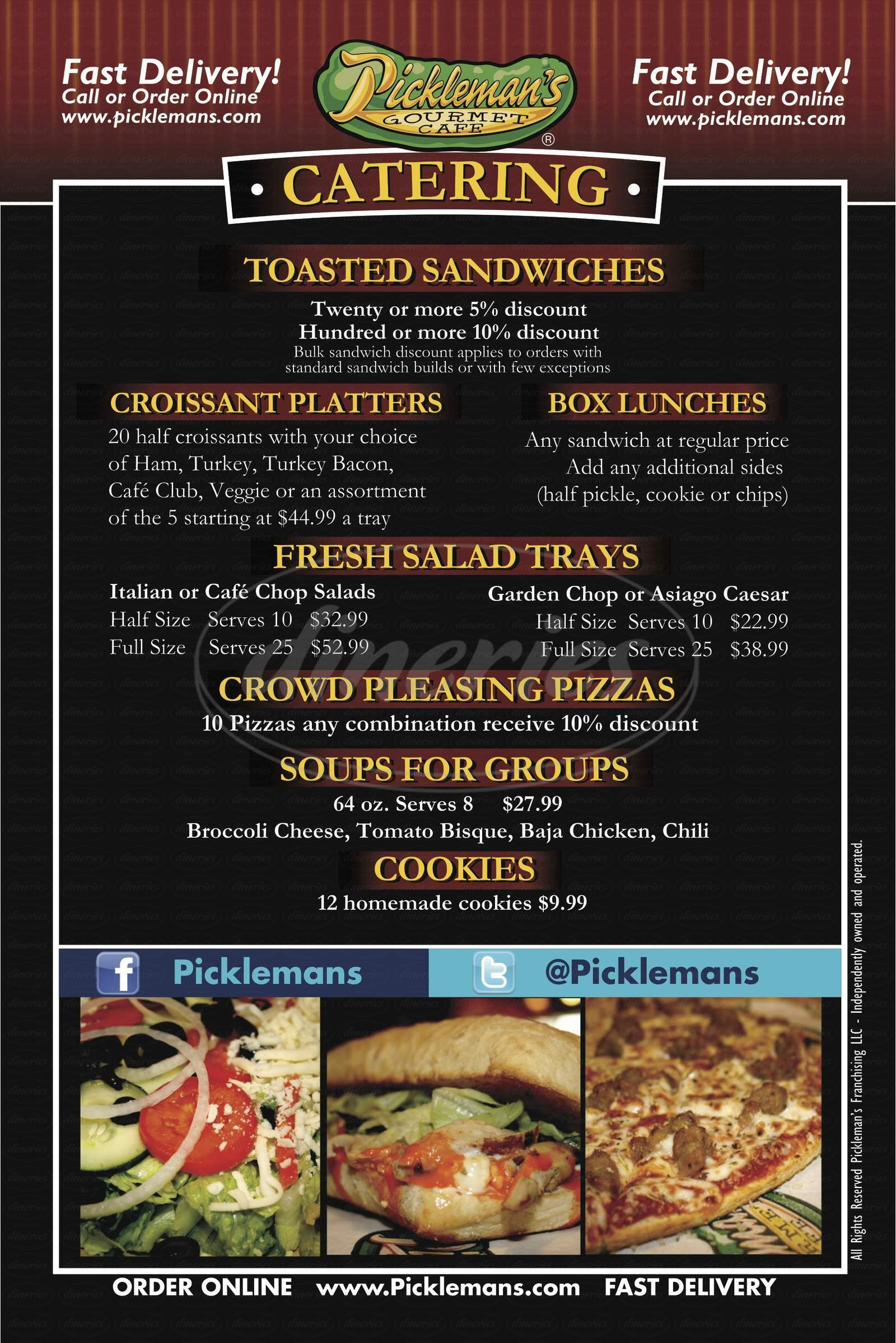 menu for Pickleman's Gourmet Cafe