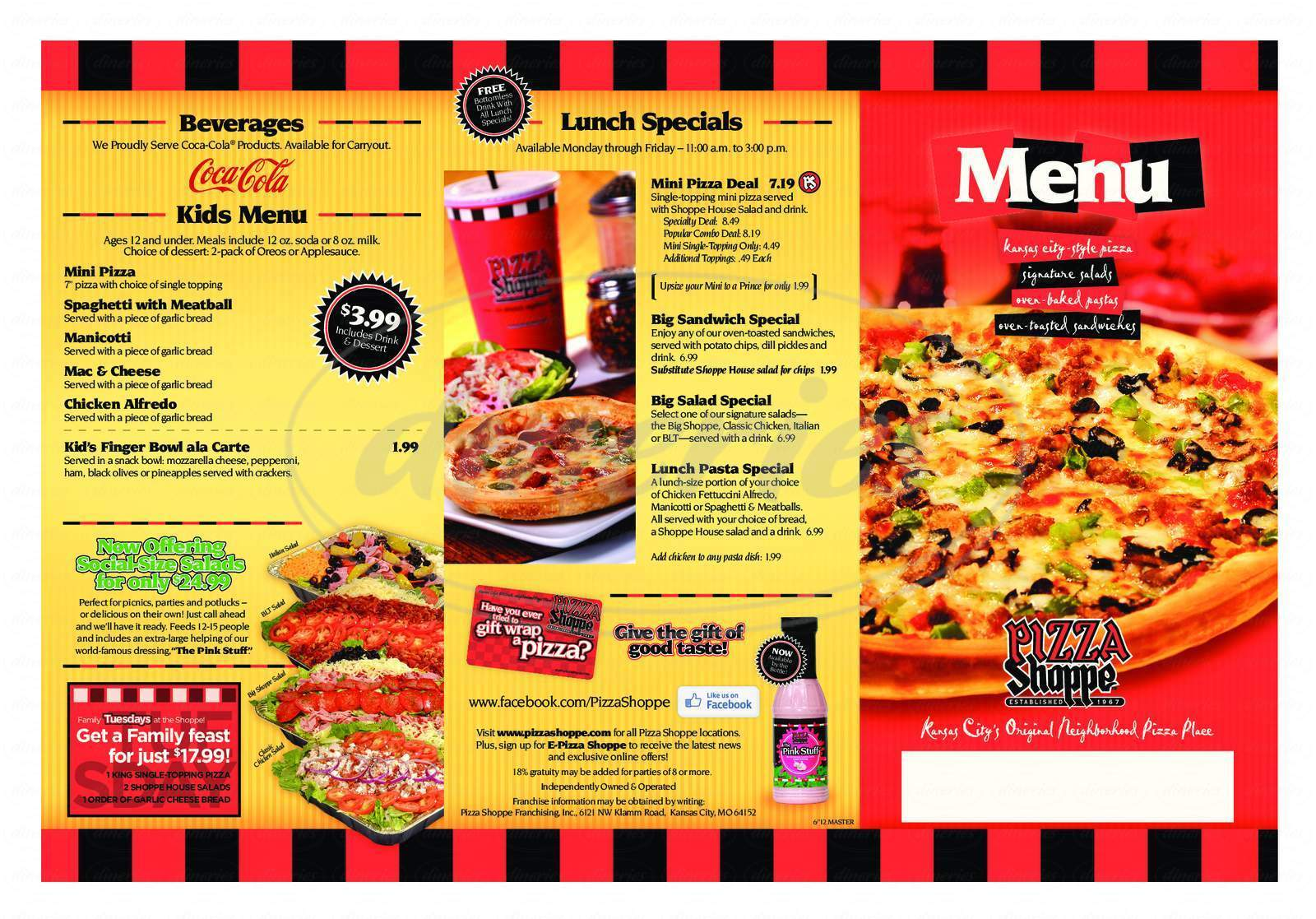 menu for Pizza Shoppe
