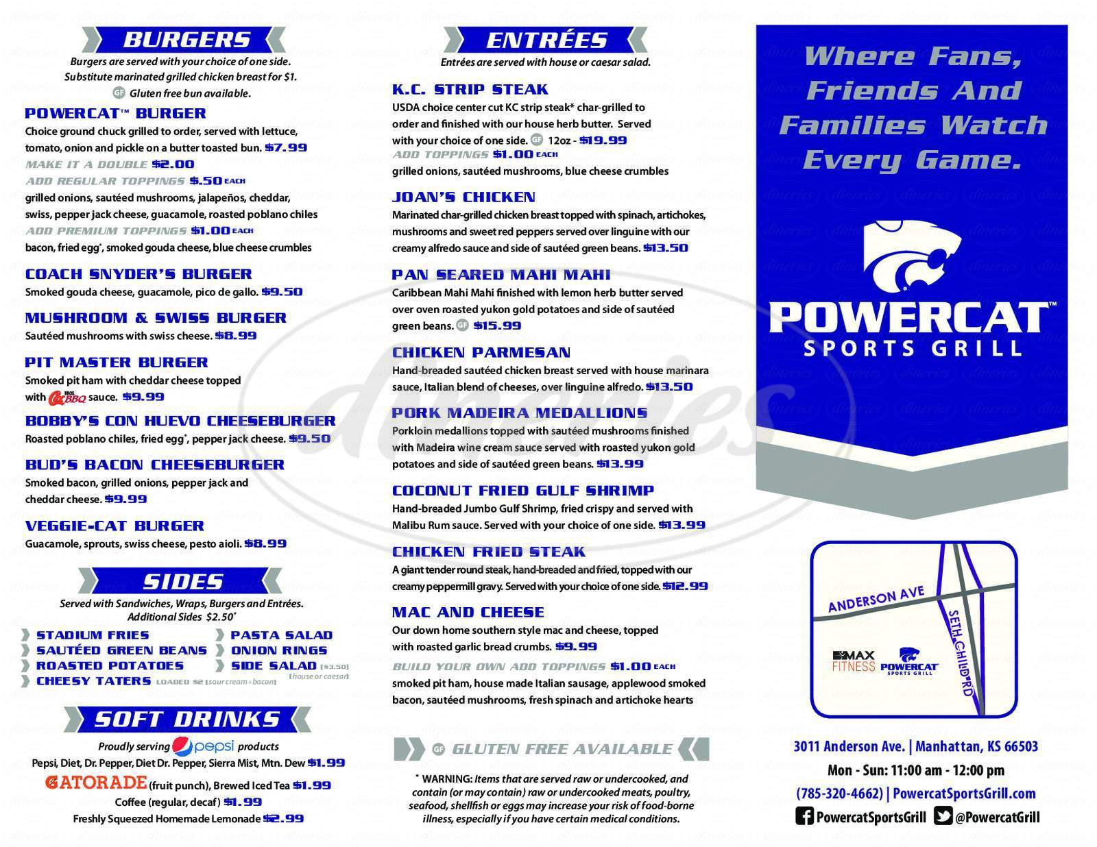menu for Powercat Sports Grill