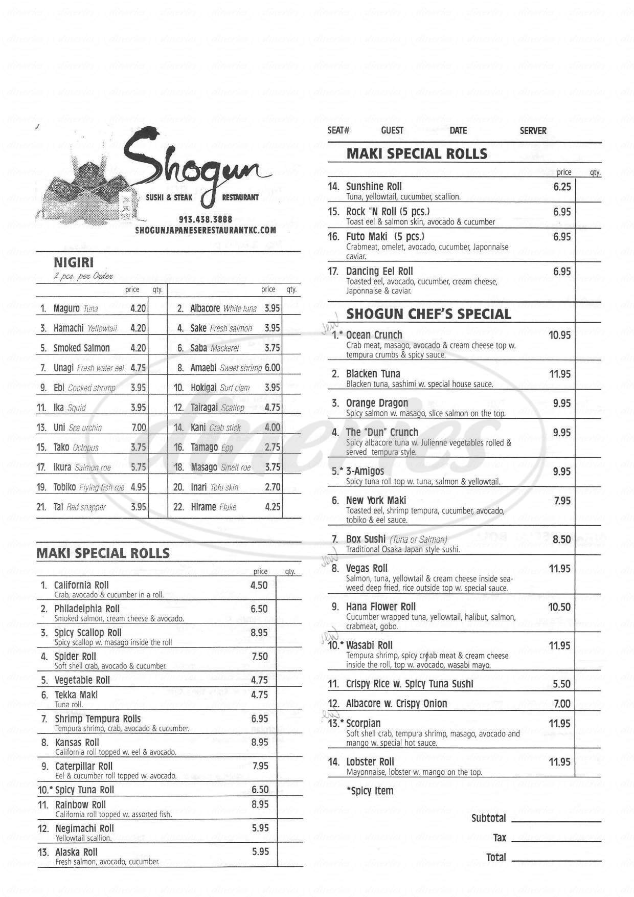 menu for Shogun