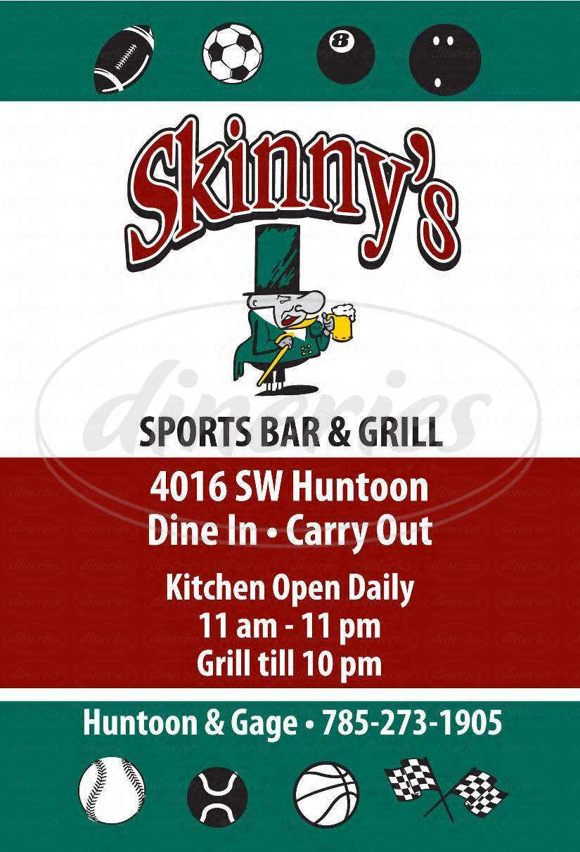 menu for Skinnys Sports Bar & Grill