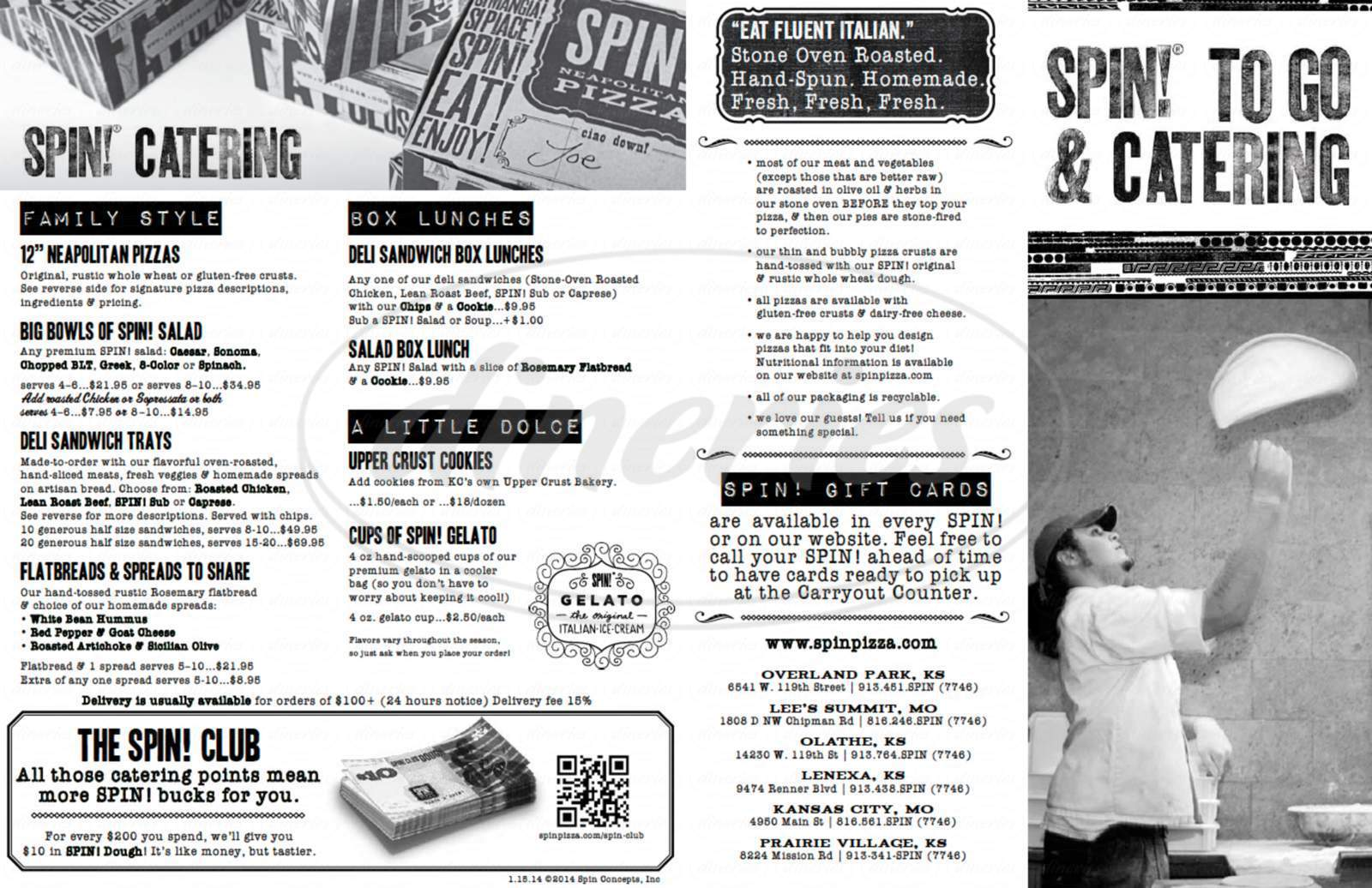 menu for SPIN! Neapolitan Pizza