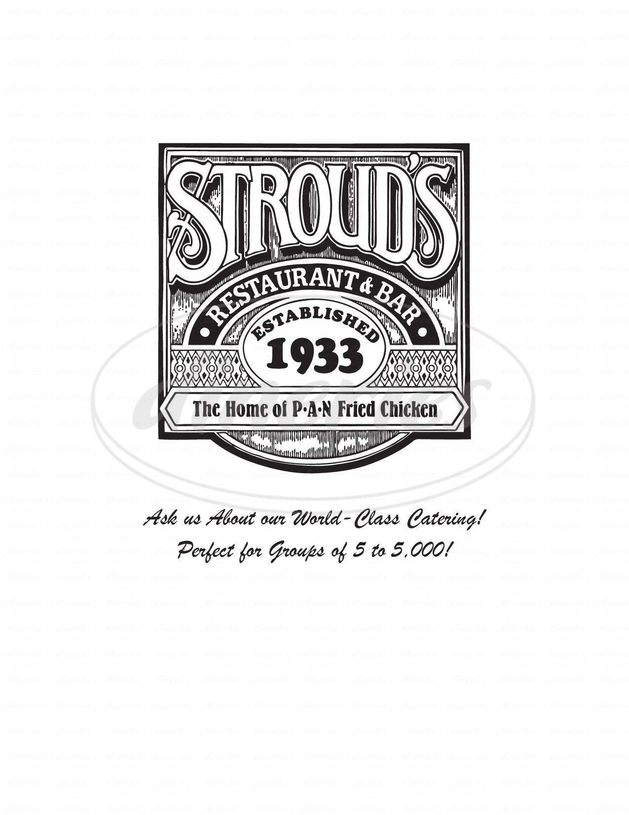 menu for Stroud's Restaurant