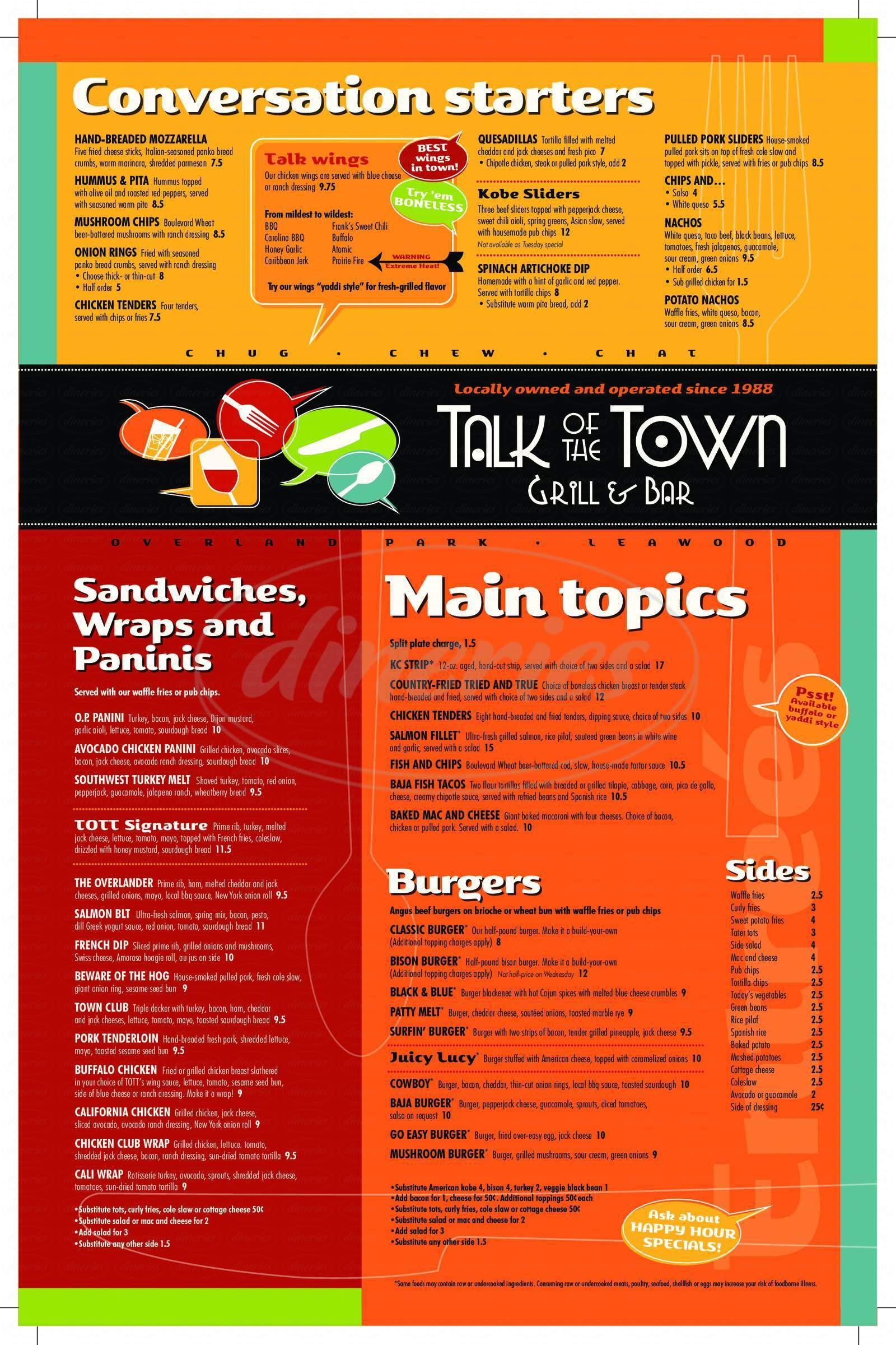 menu for Talk of the Town Grill & Bar
