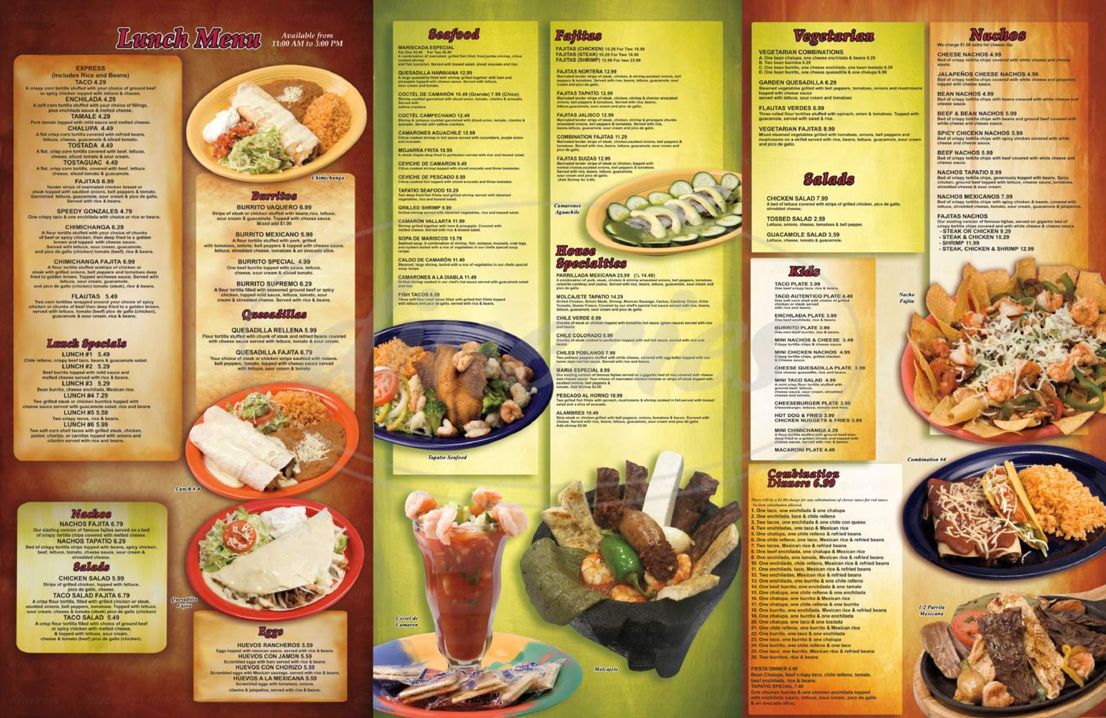 menu for Tapatio