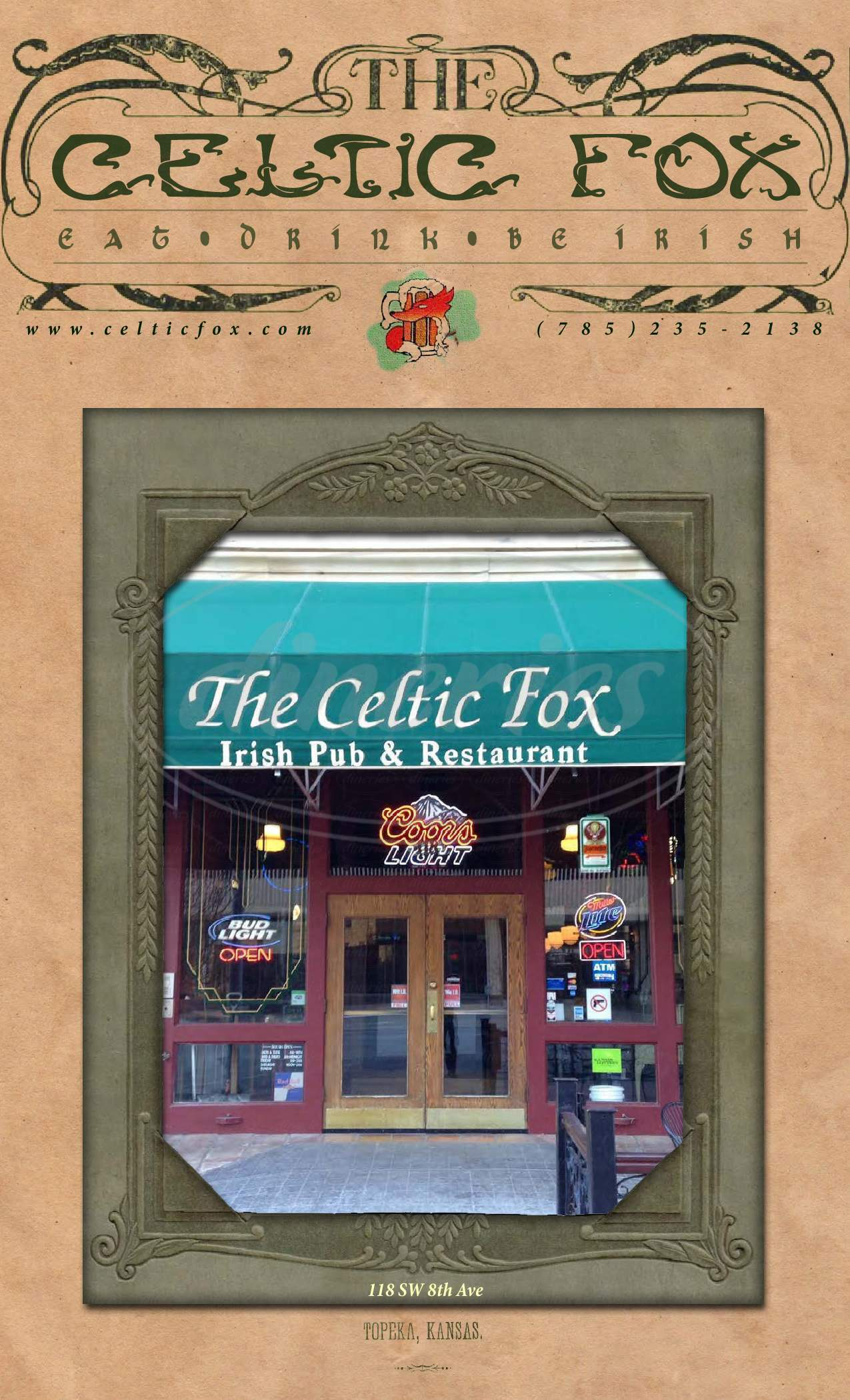 menu for The Celtic Fox
