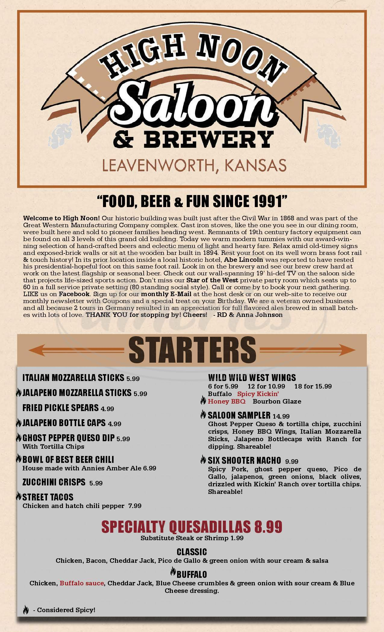 menu for High Noon Saloon & Brewery
