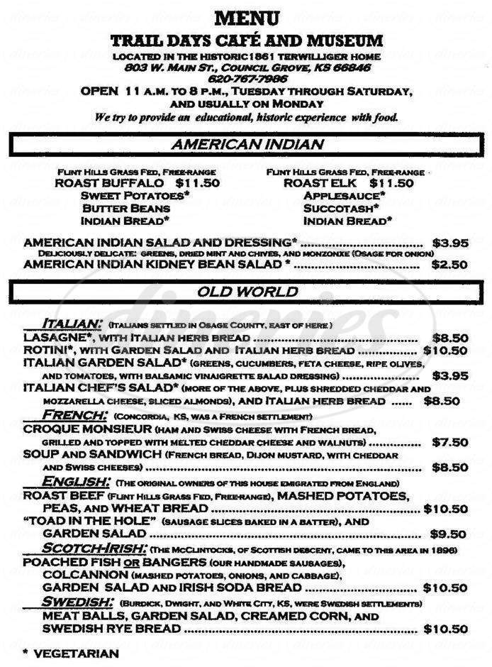 menu for Trail Days Cafe and Museum