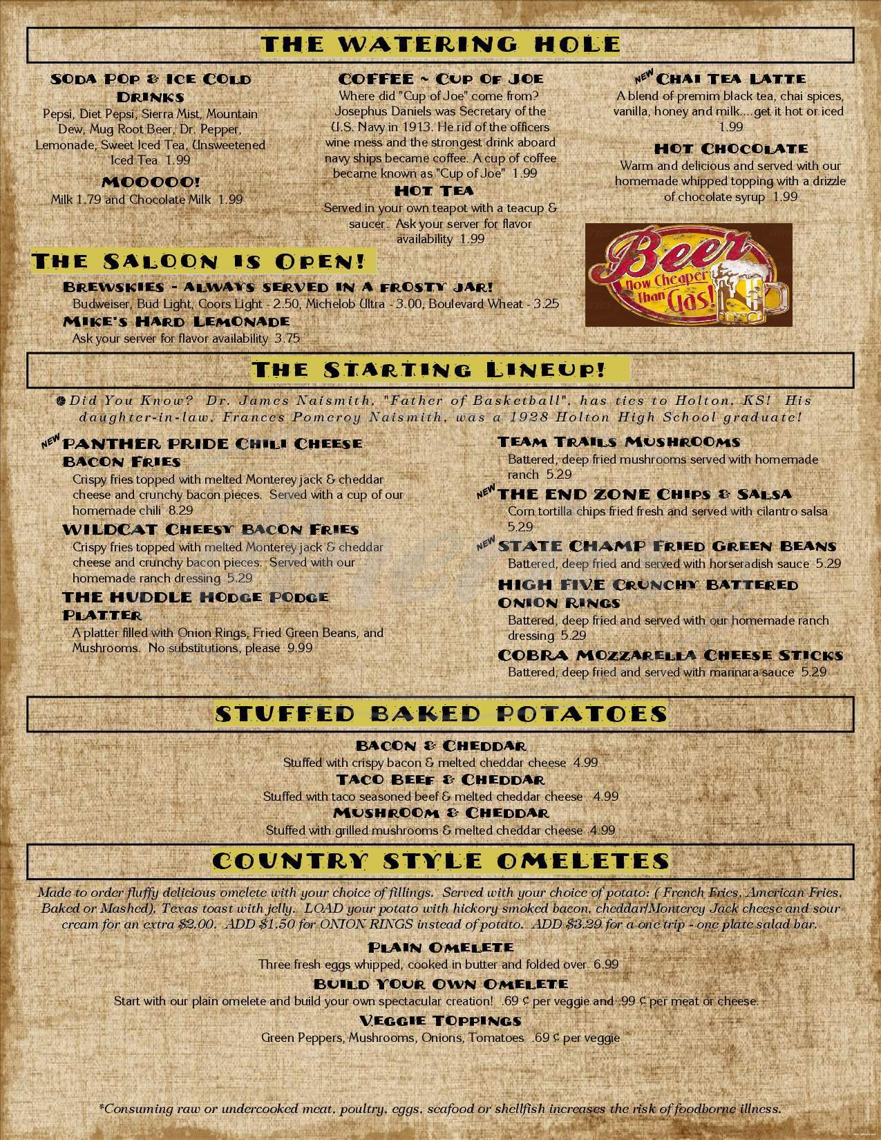 menu for Trails Cafe & Cafe Catering