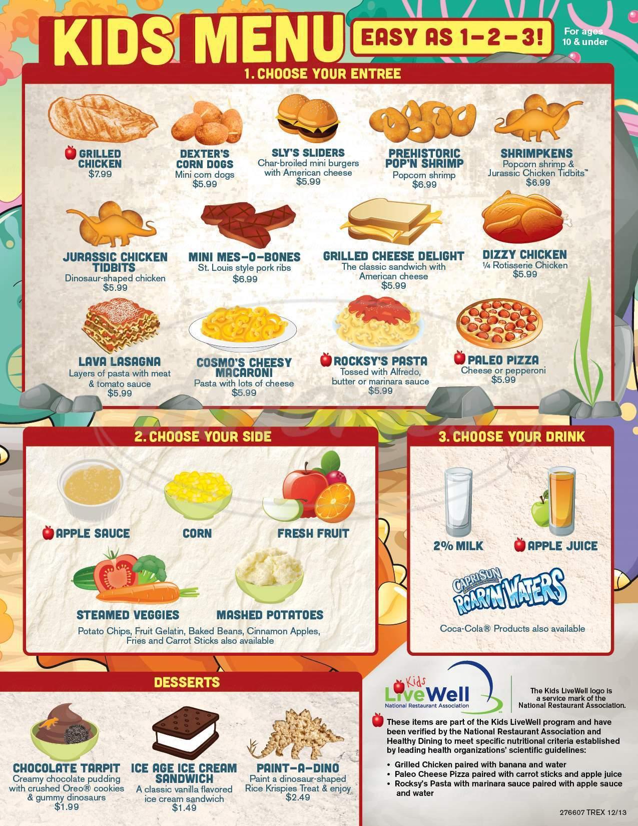 menu for T-Rex Cafe
