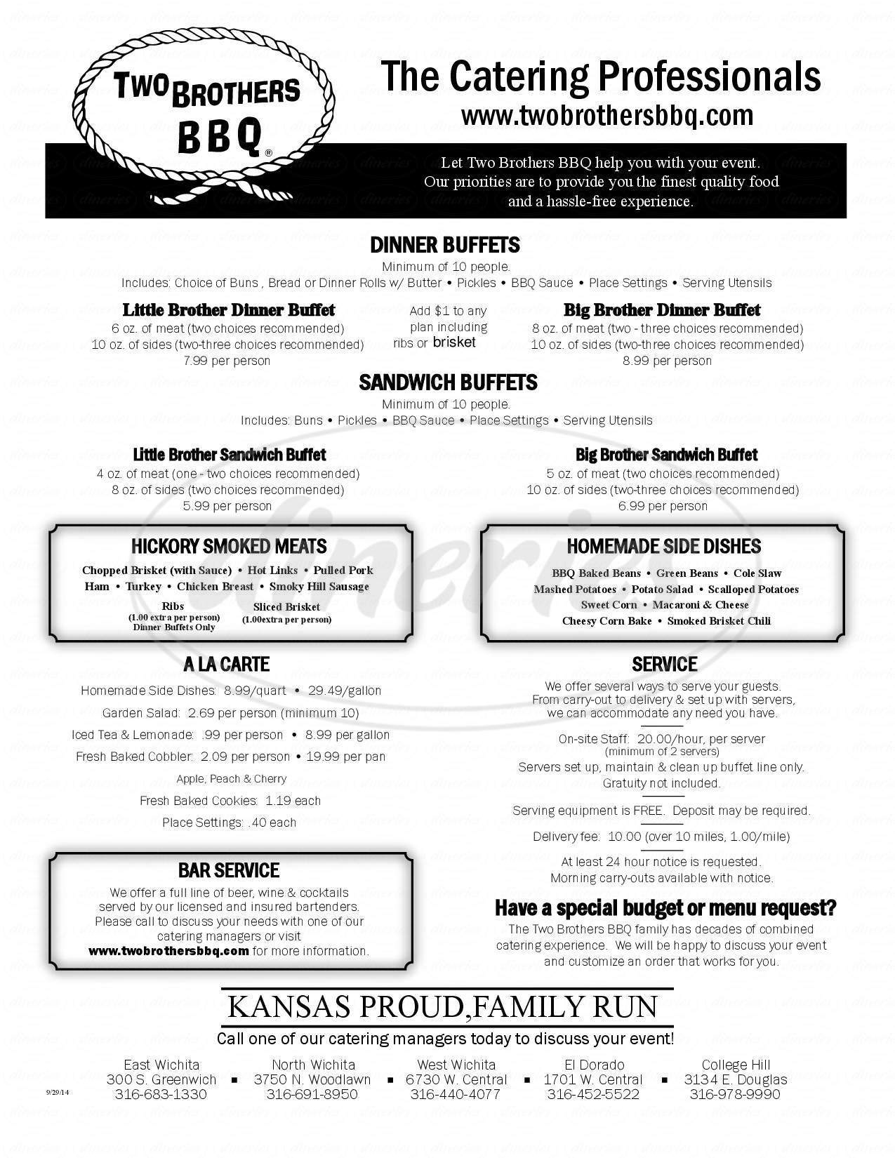 menu for Two Brothers Bbq