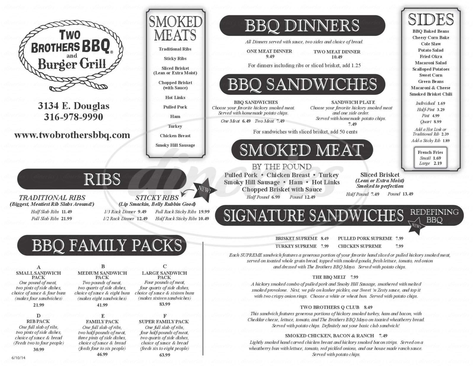 menu for Two Brothers BBQ and Burger Grill