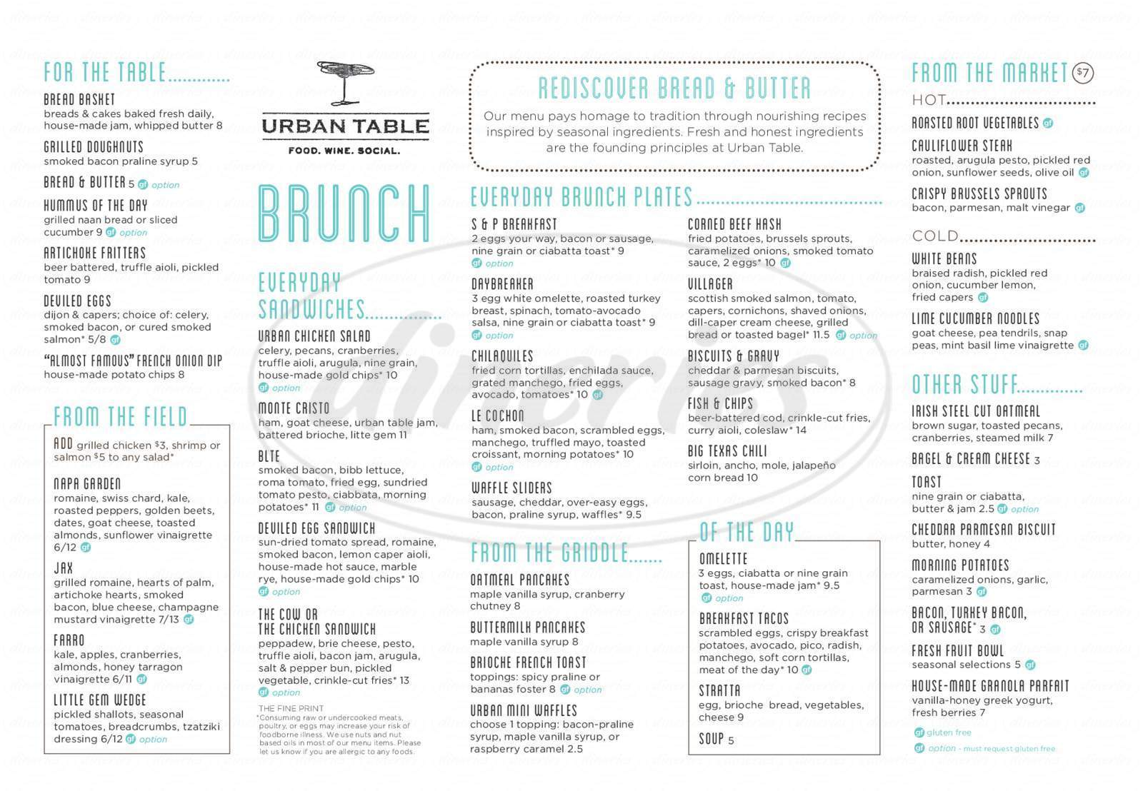 menu for Urban Table