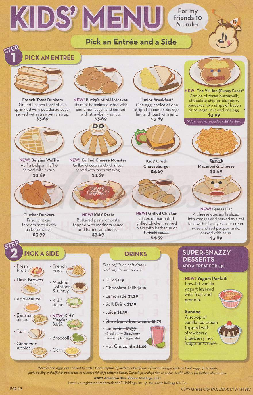 menu for Village Inn Family Restaurant