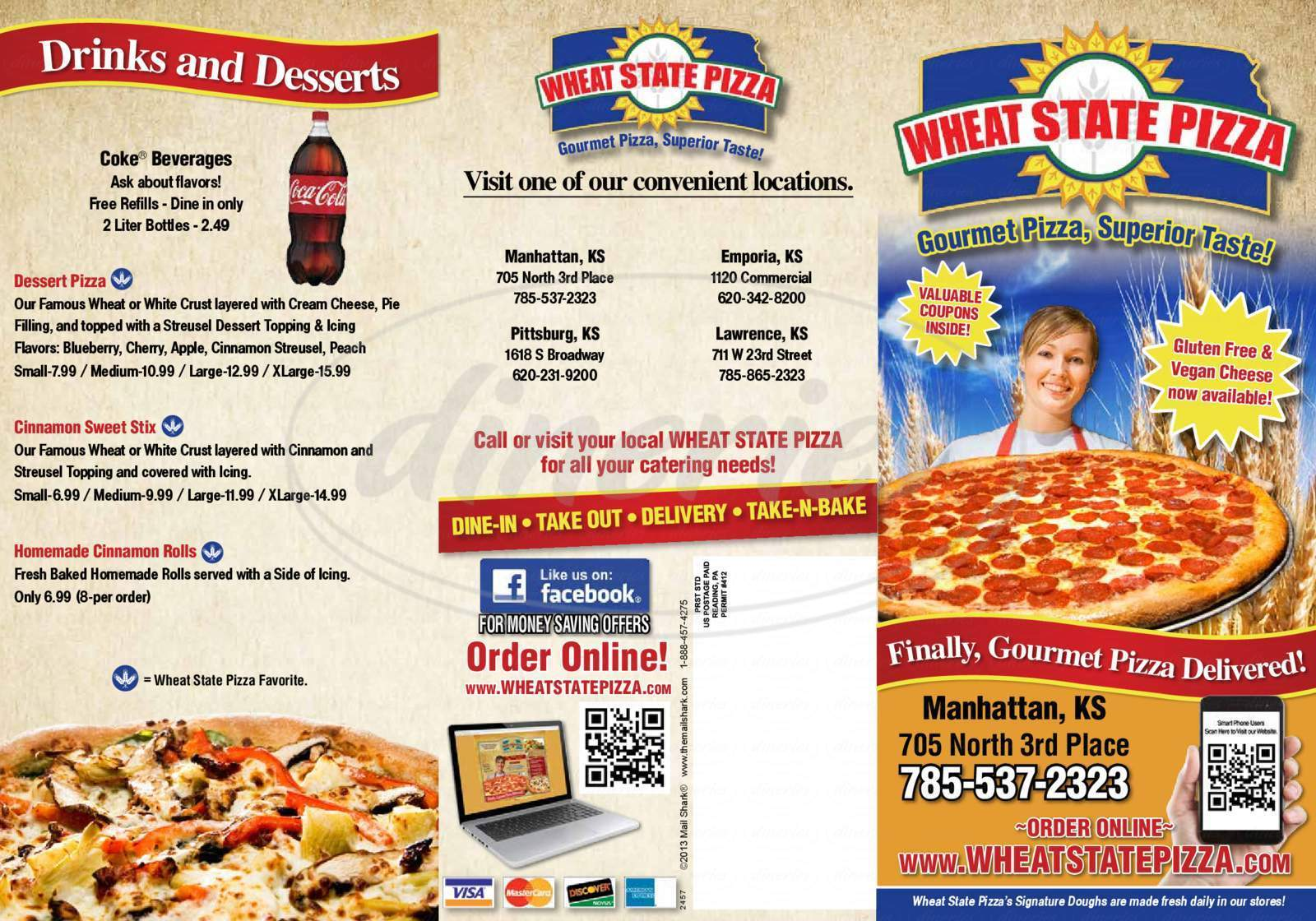 menu for Wheat State Pizza