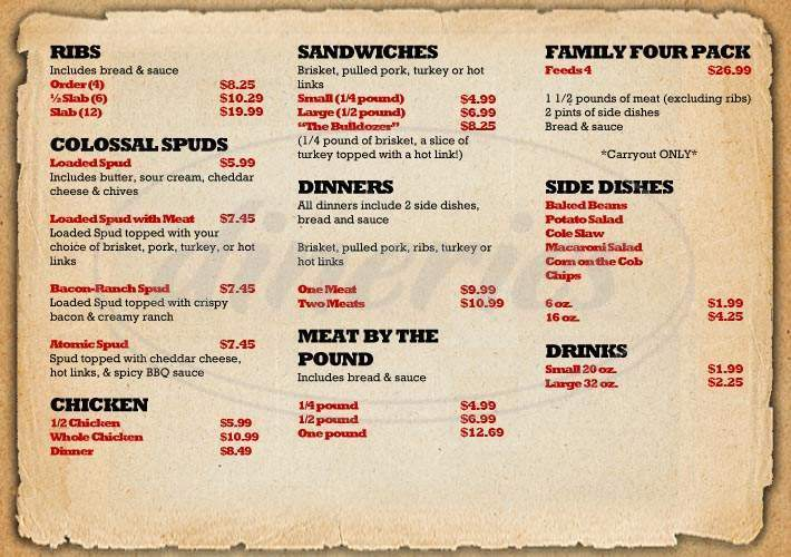 menu for When Pigs Fly BBQ