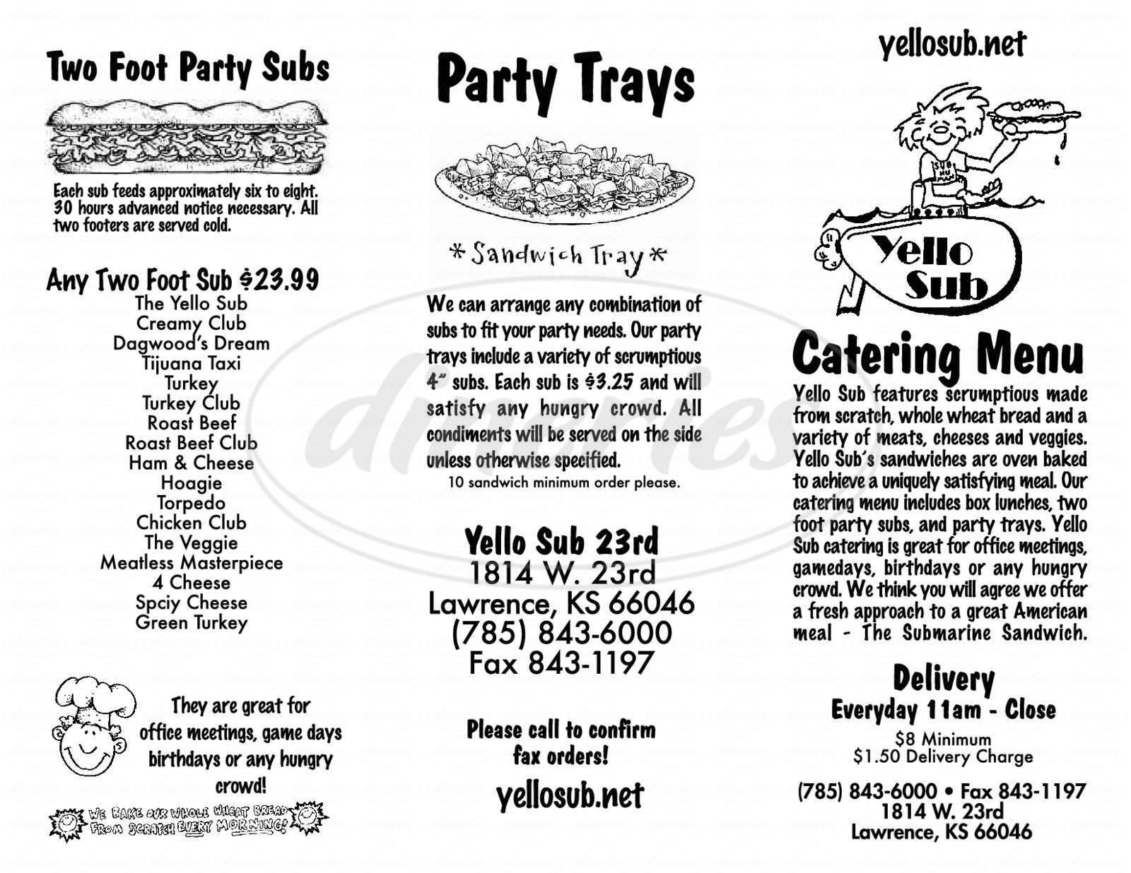menu for Yello Sub