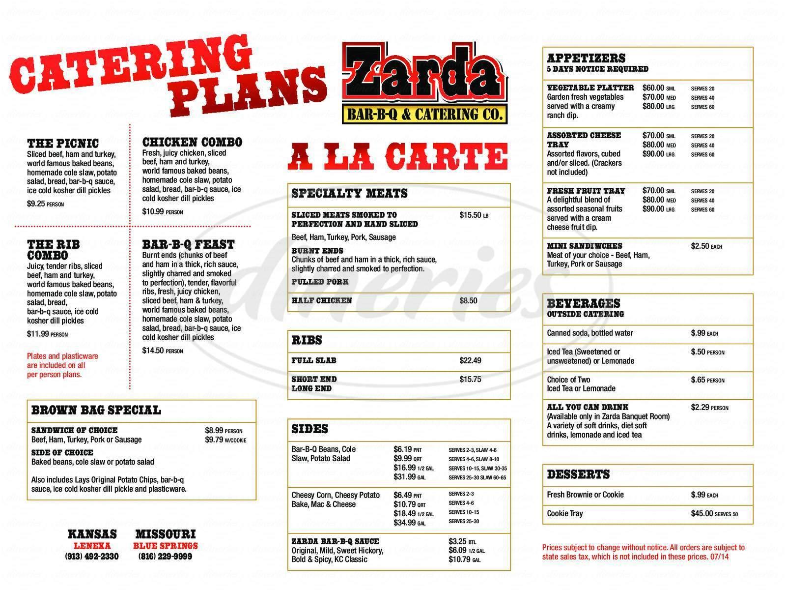 menu for Zarda
