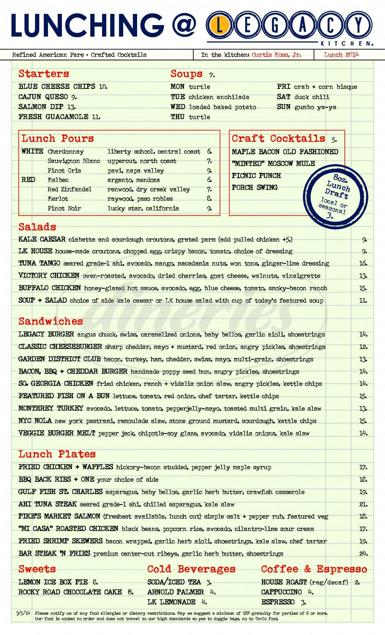 menu for Legacy Kitchen